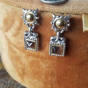 Silver and gold with tiger brown stone earrings